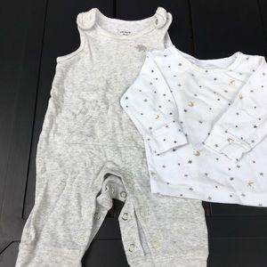 Carter's 2 piece cotton overalls set, size 3 m